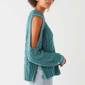 Urban Outfitters Blue Cold Shoulder Sweater
